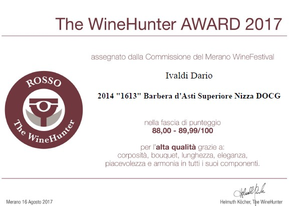 Wine Hunter Award al vino Barbera Asti superiore Nizza Docg