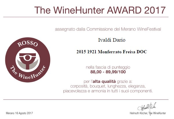 Wine Hunter Award a Freisa Doc, Ivaldi Dario
