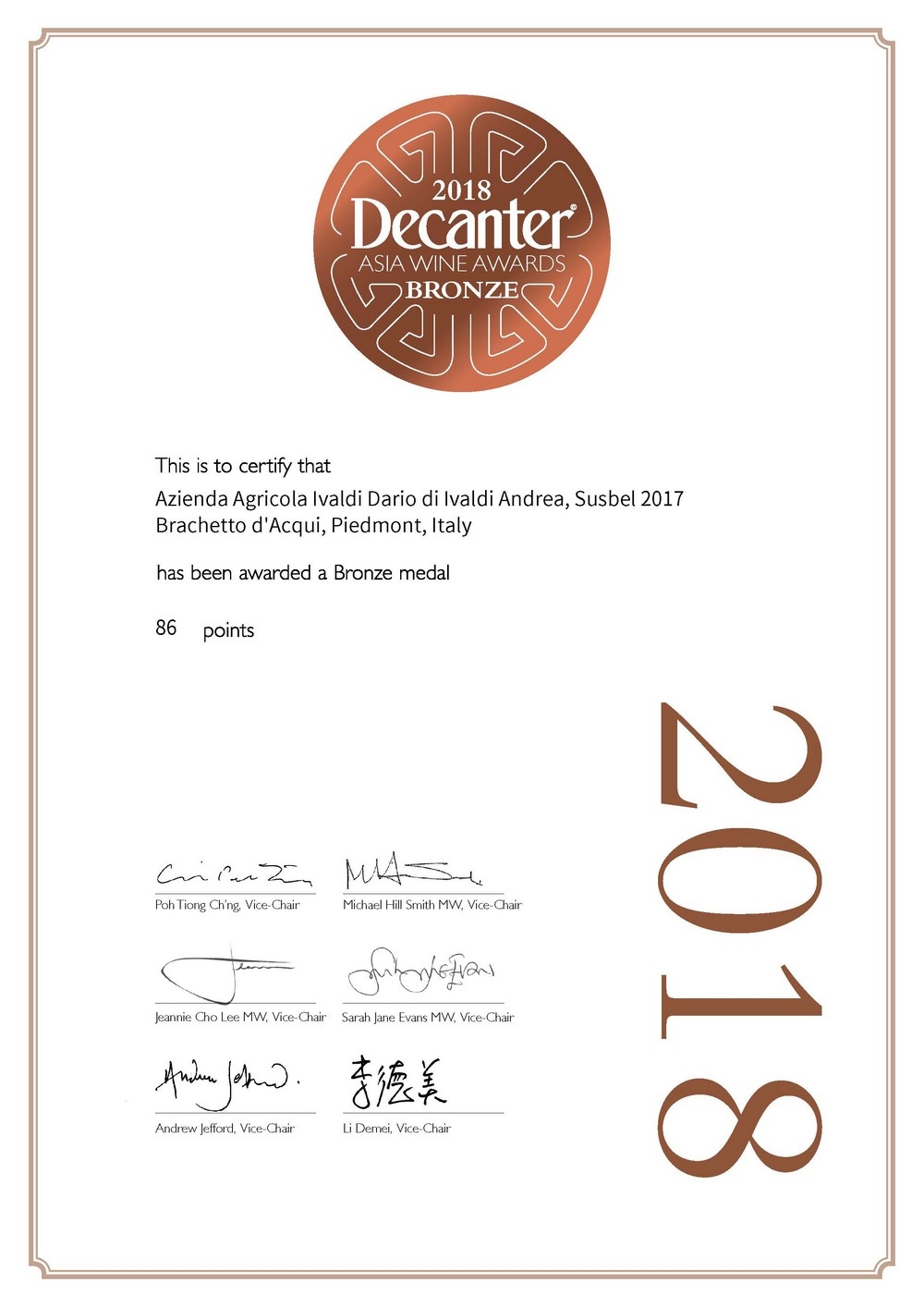 Premio Decanter 2018 al Brachetto d'Acqui Susbel 2017