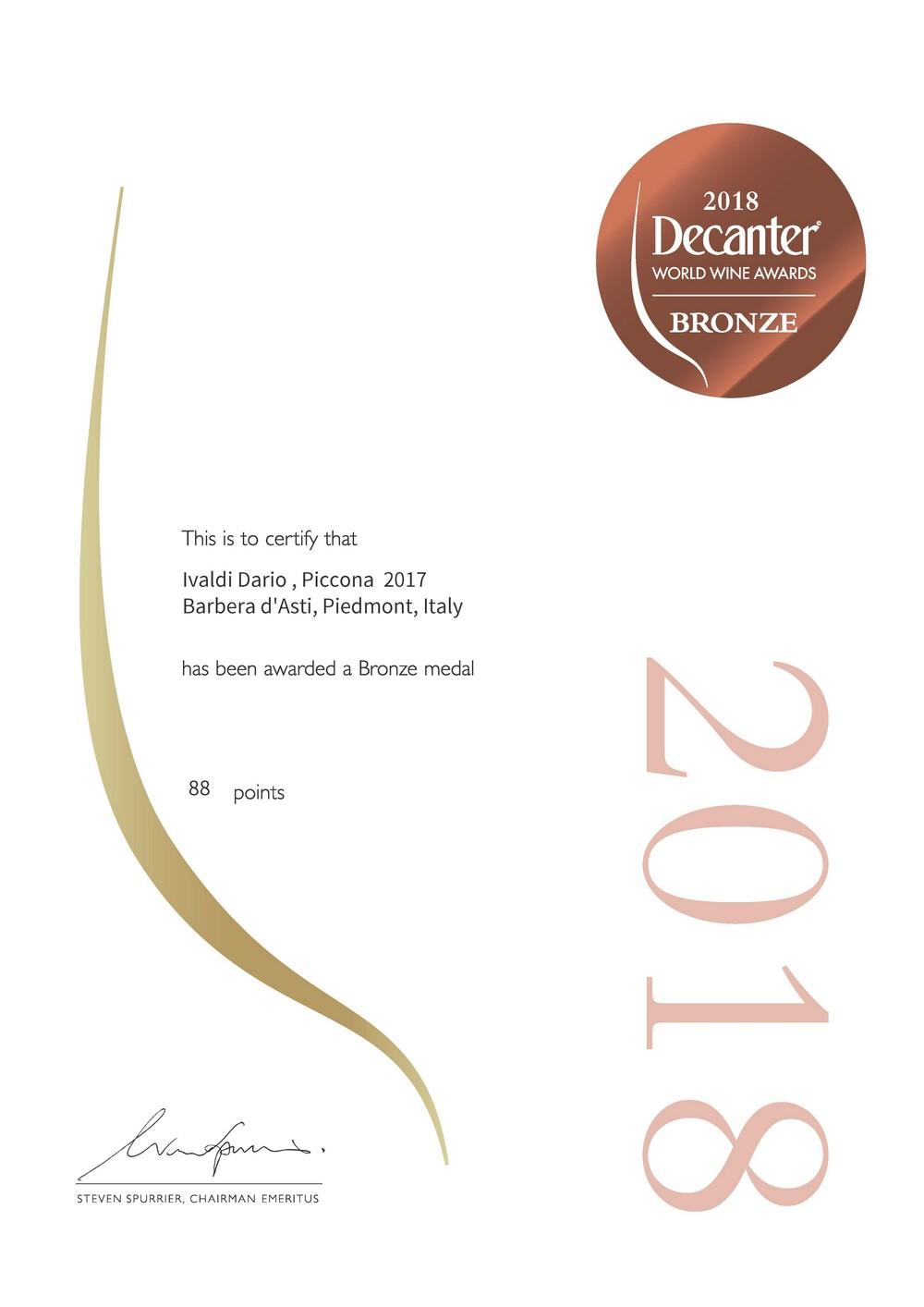 Premio Decanter 2018 al vino Piccona 2017 Barbera d'Asti